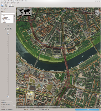 Satellite images provided via WMS displayed on top<br />
